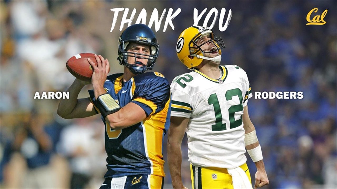 reputable site 62aea 456d2 Cal QB Legend Aaron Rodgers Talks About Donation to Cal ...